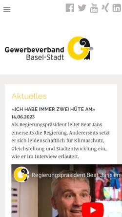 Vorschau der mobilen Webseite gewerbe-basel.ch, Gewerbeverband Basel-Stadt