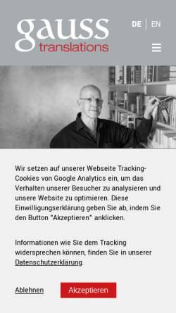 Vorschau der mobilen Webseite www.gauss-translations.de, Gauss Translations, Inh. Dr. Jürgen Gauss