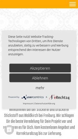 Vorschau der mobilen Webseite www.stickstoff-fashion.de, StickStoff® GmbH