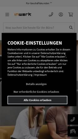 Vorschau der mobilen Webseite www.inwerk-bueromoebel.de, Inwerk GmbH