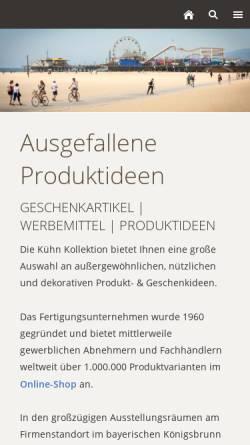 Vorschau der mobilen Webseite www.kuehn-kollektion.de, Kühn Kollektion GmbH & Co KG