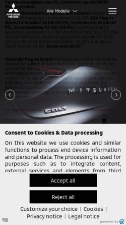 Vorschau der mobilen Webseite www.mitsubishi-motors.de, MMD Automobile GmbH