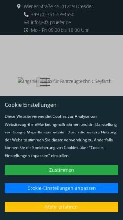Vorschau der mobilen Webseite www.kfz-pruefer.de, Ingenieurbüro Jens Seyfarth