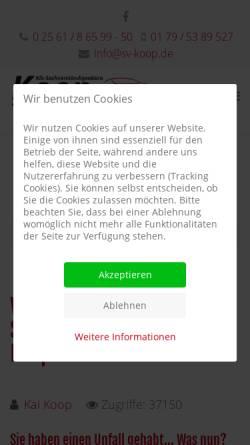 Vorschau der mobilen Webseite sv-koop.de, Kfz-Sachverständigenbüro Koop