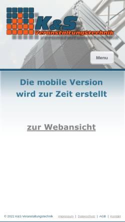 Vorschau der mobilen Webseite www.ks-veranstaltungstechnik.de, K&S Veranstaltungstechnik Krohn und Schumacher GbR