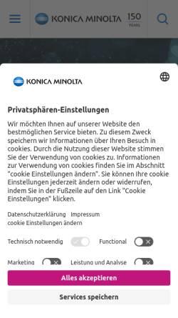Vorschau der mobilen Webseite www.konicaminolta.at, Konica Minolta Business Solutions Austria GmbH