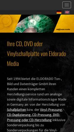 Vorschau der mobilen Webseite www.eldorado-media.com, Eldorado Ton-, Bild & Datenträger GmbH