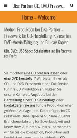 Vorschau der mobilen Webseite www.discpartner.de, AAA Media Solutions GmbH & Co. KG
