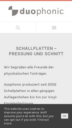 Vorschau der mobilen Webseite www.duophonic.de, Duophonic GbR
