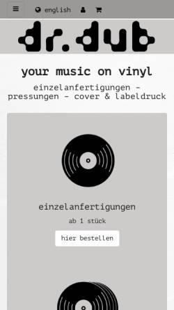 Vorschau der mobilen Webseite www.drdub.com, Dr. dub - vinyl recording service Wieshofer & Soder OG