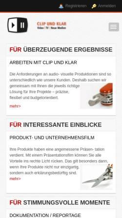 Vorschau der mobilen Webseite www.clipundklar.net, Clip und Klar Video, TV, neueMedien - Inh. Matthias Karg