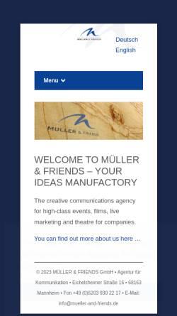 Vorschau der mobilen Webseite mueller-and-friends.de, Müller & Friends GmbH