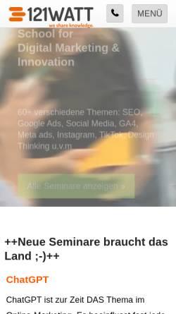 Vorschau der mobilen Webseite www.121watt.de, 121watt.de, Alexander Holl