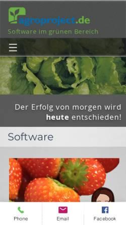 Vorschau der mobilen Webseite www.agroproject.de, Technikscheune, Agroproject GmbH & Co. KG