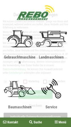 Vorschau der mobilen Webseite www.rebo-landmaschinen.de, Rebo Landmaschinen GmbH