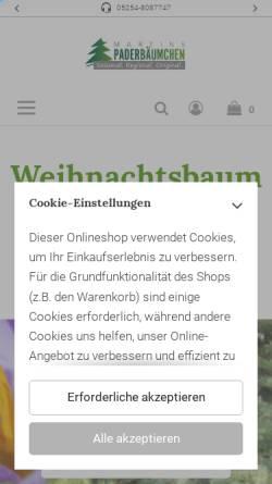 Vorschau der mobilen Webseite www.paderbaeumchen-shop.de, Martins Paderbäumchen