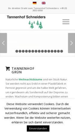 Vorschau der mobilen Webseite www.tannenhof-schneiders.de, Tannenhof Schneiders GmbH & Co. KG
