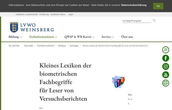 Vorschau von www.lvwo-bw.de, Biometrische Fachbegriffe für Leser von Versuchsberichten