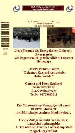 Vorschau der mobilen Webseite www.dahomey-zwergrinder.com, Dahomey Zwergrinder von der Hufschmiede