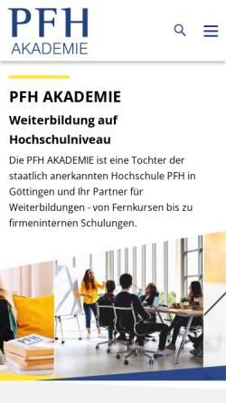 Vorschau der mobilen Webseite www.pfhps.de, PFH Professional School of Management, Innovation & Technology GmbH
