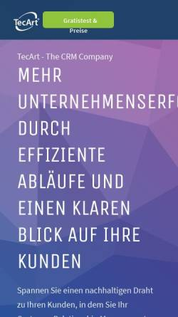 Vorschau der mobilen Webseite www.tecart.de, TecArt GmbH