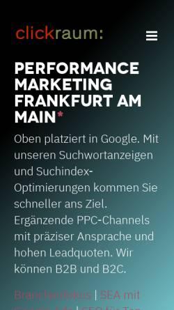 Vorschau der mobilen Webseite www.clickraum.de, Clickraum GmbH