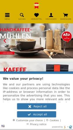 Vorschau der mobilen Webseite www.hensler-kaffee.de, Anton Hensler GmbH & Co. KG