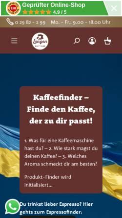 Vorschau der mobilen Webseite www.langen-kaffee.de, Langen Kaffee GmbH & Co KG