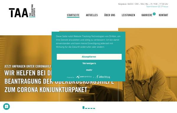 Vorschau von www.taa.de, TAA Travel Agency Accounting GmbH