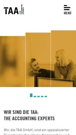 Vorschau der mobilen Webseite www.taa.de, TAA Travel Agency Accounting GmbH
