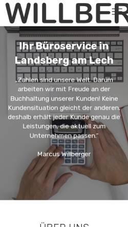 Vorschau der mobilen Webseite www.willberger.de, Buchhaltung und Büroservice Anette Willberger