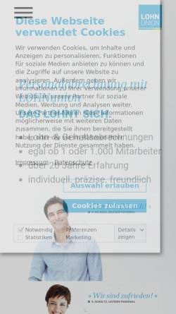 Vorschau der mobilen Webseite www.lohnunion.de, Lohnunion GmbH