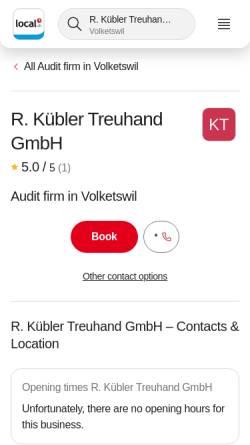 Vorschau der mobilen Webseite www.kuebler-treuhand.ch, Kübler Treuhand