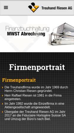 Vorschau der mobilen Webseite www.treuhand-riesen.ch, Treuhanf Riesen AG