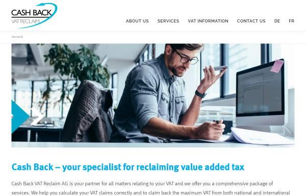 Vorschau von www.cashback.ch, Cash Back VAT Reclaim AG