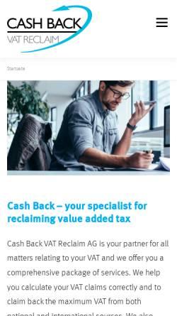 Vorschau der mobilen Webseite www.cashback.ch, Cash Back VAT Reclaim AG
