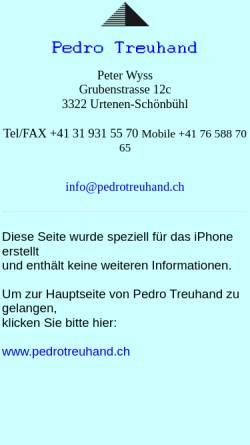 Vorschau der mobilen Webseite www.pedrotreuhand.ch, Pedro Treuhand, Inh. Peter Wyss