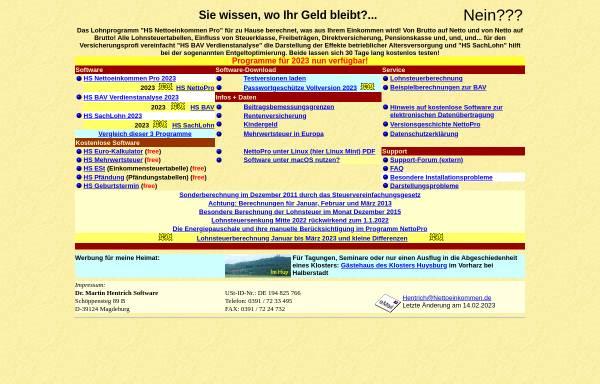 Vorschau von www.nettoeinkommen.de, Software und Infos zu Steuern