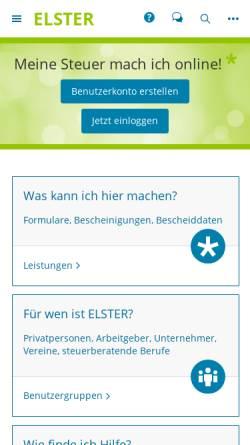 Vorschau der mobilen Webseite www.elster.de, ELSTER: Elektronische Steuererklärung