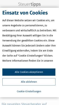 Vorschau der mobilen Webseite www.steuertipps.de, Wolters Kluwer Deutschland GmbH
