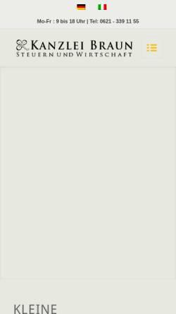 Vorschau der mobilen Webseite www.steuerberatung-braun.de, Heinrich Braun - Steuerberater