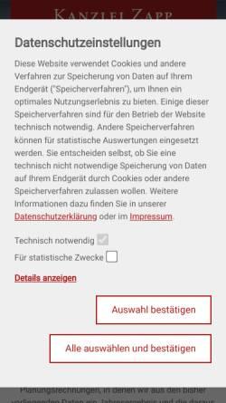 Vorschau der mobilen Webseite www.wp-zapp.de, Kanzlei Zapp - Wirtschaftsprüfung, Steuerberatung
