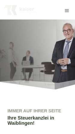 Vorschau der mobilen Webseite www.kaiserstb.de, Thomas Kaiser - Steuerkanzlei