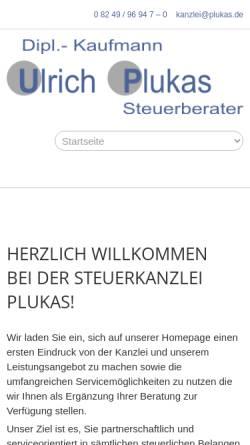 Vorschau der mobilen Webseite plukas.de, Steuerberater Dipl.-Kfm. Ulrich Plukas