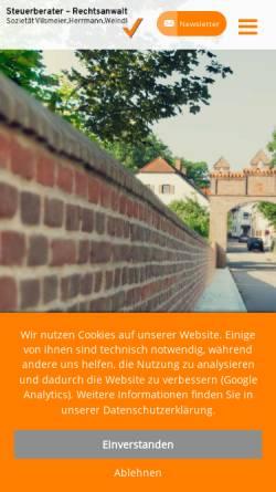Vorschau der mobilen Webseite www.vilsmeier-herrmann.de, Steuerberatersozietät J. Vilsmeier & K.- H. Herrmann