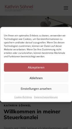 Vorschau der mobilen Webseite www.stb-soehnel.de, Steuerberaterin Kathrin Söhnel