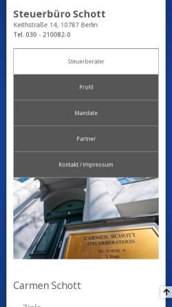 Vorschau der mobilen Webseite www.stb-schott.de, Steuerberater Carmen Schott . Alexander Schott