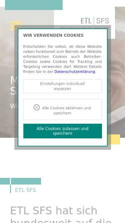 Vorschau der mobilen Webseite www.etl-sfs.de, SFS GmbH