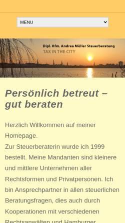 Vorschau der mobilen Webseite www.andrea-moeller-stb-hamburg.de, Dipl.-Kfm. Andrea Möller