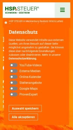 Vorschau der mobilen Webseite www.hsp-steuerberater-schwerin-wismar-guestrow.de, HSP Steuer in Mecklenburg Raddatz Wild & Reinke Steuerberatungsgesellschaft mbH
